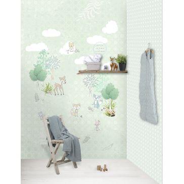 1dbf56568b1 Παιδική ταπετσαρία τοίχου 2x3m BEHANG KAY & LIV Forest Friends mint