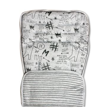 Κάλυμμα καροτσιού MINENE Pushchair & Car Seat Liner Grey Graffiti/Stripes