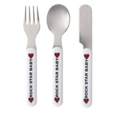 Σετ μαχαιροπίρουνο ROCK STAR BABY Cutlery Set Heart & Wings