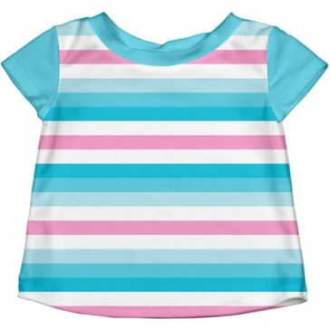 1fe2295ce80 Μπλούζα με ηλιοπροστασία I Play Cap Sleeve UV Rashguard Shirt Aqua Pink  Stripe