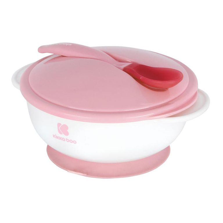ΚΙΚΚΑΒΟΟ Bowl with Heat Sensing Spoon Pink 31302040076