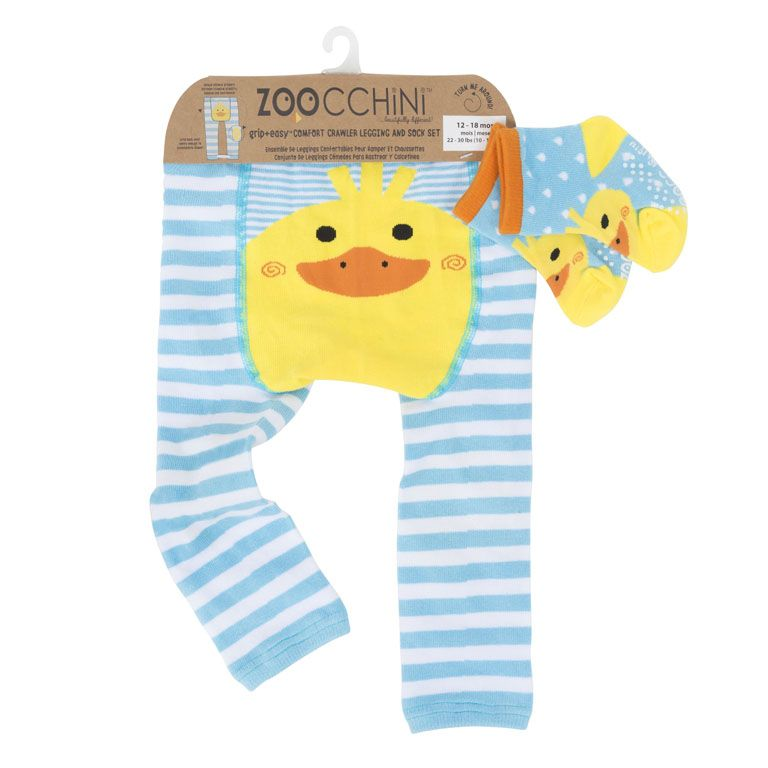 ZOOCCHINI Grip+Easy Crawler Pants & Socks Set – Puddles the Duck
