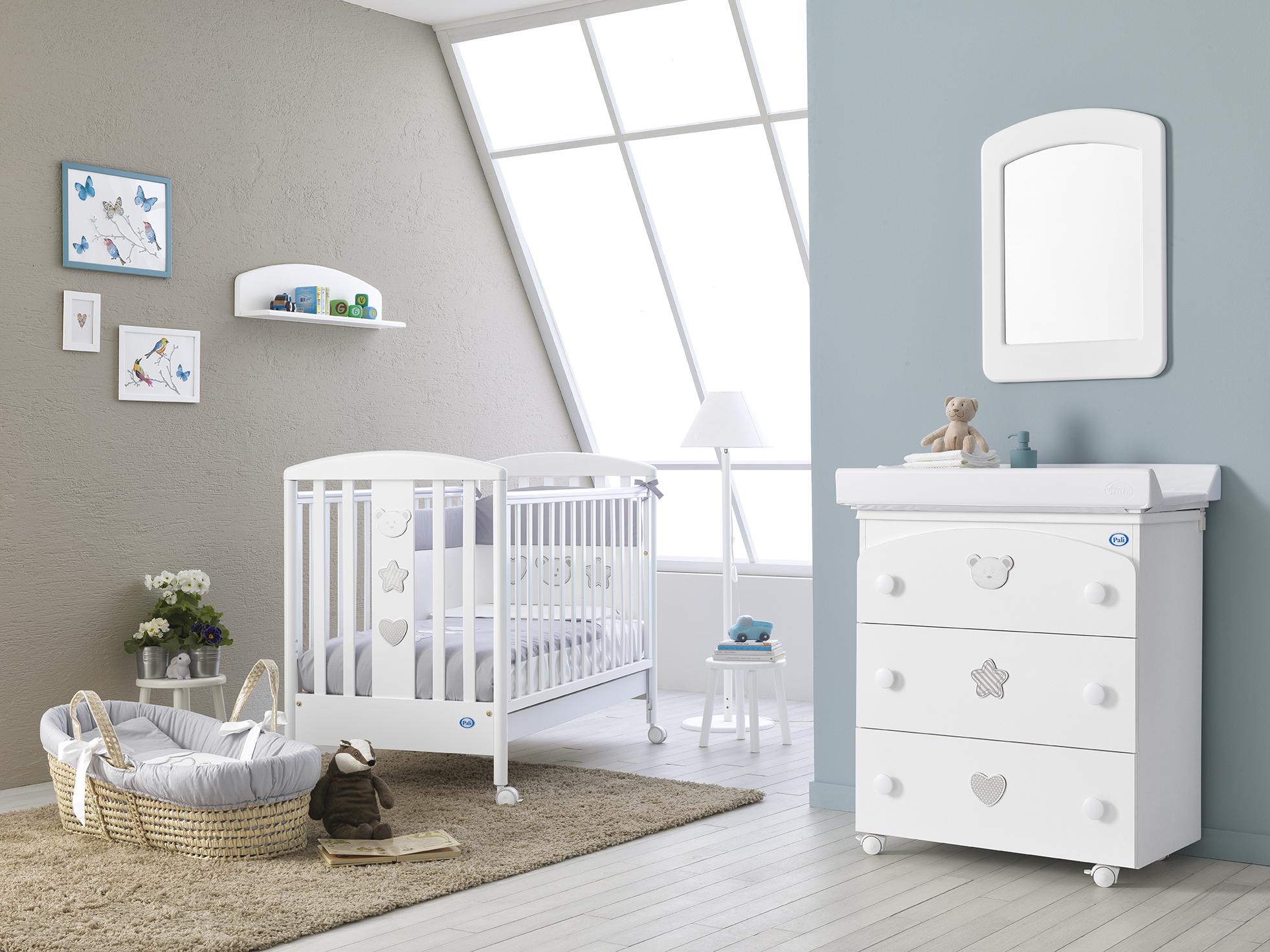 ac269a3fa37 Ολοκληρωμένο βρεφικό δωμάτιo PALI Birillo white με συρταριέρα-μπανάκι-αλλαξιέρα,  προίκα και στρώμα :: PaliBaby